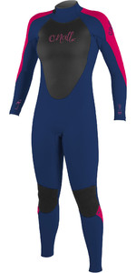 2020 O'Neill Youth Girls Epic 4/3mm Back Zip GBS Wetsuit 4216G - Navy / Berry