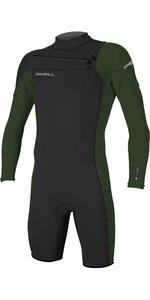 2021 O'Neill Mens Hammer 2mm Long Sleeve Chest Zip Shorty Wetsuit 4928 - Black / Dark Olive