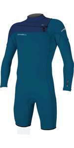 2020 O'Neill Mens Hammer 2mm Long Sleeve Chest Zip Shorty Wetsuit 4928 - Blue / Navy