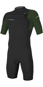 2020 O'Neill Mens Hammer 2mm Chest Zip Spring Shorty Wetsuit 4927 - Black / Dark Olive