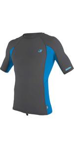 2021 O'Neill Mens Premium Skins Short Sleeve Rash Vest 4169B - Smoke / Brite Blue