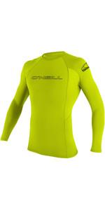 2021 O'Neill Mens Basic Skins Long Sleeve Crew Rash Vest 3342 - Lime