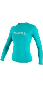 2021 O'Neill Womens Basic Skins Long Sleeve Crew Rash Vest 3549 - Light Aqua
