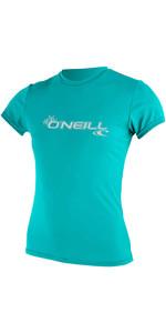 2021 O'Neill Womens Basic Skins Short Sleeve Rash Tee 3547 - Light Aqua