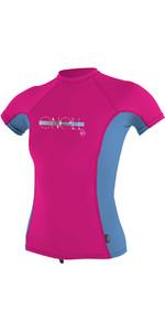 2020 O'Neill Girls Premium Skins Short Sleeve Rash Vest 4175 - Berry / Periwinkle
