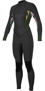 2020 O'Neill Womens Bahia 3/2mm Back Zip Wetsuit 5292 - Black / Baylen / Dark Olive