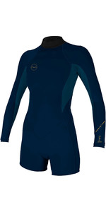 2020 O'Neill Womens Bahia 2/1mm Back Zip Long Sleeve Shorty Wetsuit 5291 - Abyss / French Navy