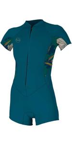 2020 O'Neill Womens Bahia 2/1mm Front Zip Shorty Wetsuit 5293 - French Navy / Bridget