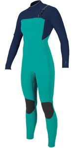 2021 O'Neill Womens Hyperfreak+ 3/2mm Chest Zip Wetsuit 5348 - Capri Breeze / Abyss