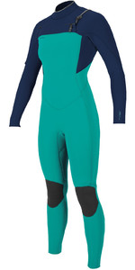 2020 O'Neill Womens Hyperfreak+ 4/3mm Chest Zip Wetsuit 5349 - Capri Breeze / Abyss