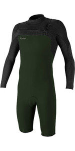 2020 O'Neill Mens Hyperfreak 2mm Chest Zip GBS Long Sleeve Shorty Wetsuit 5004 - Dark Olive / Black
