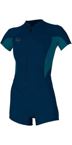 2020 O'Neill Womens Bahia 2/1mm Front Zip Long Sleeve Shorty Wetsuit 5293 - Abyss / French Navy