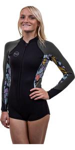 2020 O'Neill Womens Bahia 2/1mm Front Zip Long Sleeve Shorty Wetsuit 5363 - Black / Baylen / Dark Olive