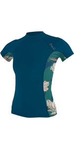 2021 O'Neill Womens Side Print Short Sleeve Rash Vest 5405S - French Navy / Bridget