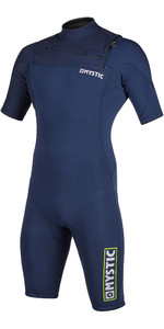 2020 Mystic Mens Marshall 3/2mm Chest Zip Shorty Wetsuit 200061 - Navy / Lime