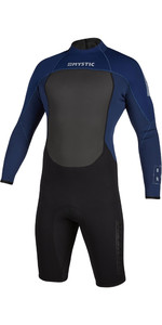 2021 Mystic Mens Brand 3/2mm Long Sleeve Back Zip Shorty Wetsuit 200069 - Navy