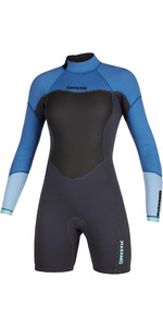 2020 Mystic Womens Brand 3/2mm Long Sleeve Back Zip Shorty Wetsuit 200083 - Menthol Blue