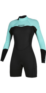 2020 Mystic Womens Brand 3/2mm Long Sleeve Back Zip Shorty Wetsuit 200083 - Mint Green