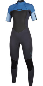 2020 Mystic Womens 3/2mm Short Sleeve Back Zip Wetsuit 200082 - Menthol Blue