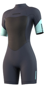 2021 Mystic Womens Brand 3/2mm Back Zip Shorty Wetsuit 210323 - Night Blue