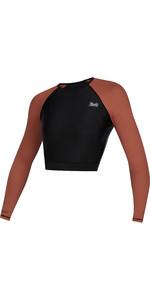 2021 Mystic Womens Diva Crop Long Sleeve Rash Vest 210269 - Rusty Red