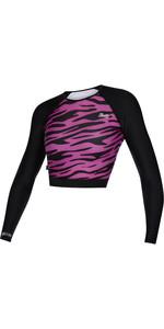 2021 Mystic Womens Diva Crop Long Sleeve Rash Vest 210269 - Black / Pink