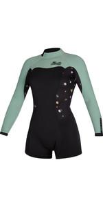 2021 Mystic Womens Diva 2mm Long Sleeve Back Zip Shorty Wetsuit 200072 - Black