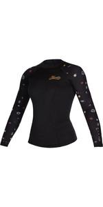2021 Mystic Womens Diva 2mm Long Sleeve Wetsuit Top 200075 - Black