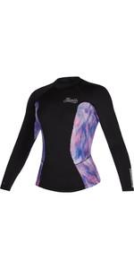 2021 Mystic Womens Diva 2mm Long Sleeve Wetsuit Top 200075 - Black / Purple