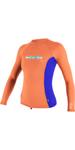 O'Neill Youth Girls Premium Skins Long Sleeve Rash Vest Coral / Cobalt 4176