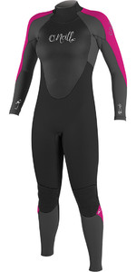 2018 O'Neill Womens Epic 4/3mm Back Zip GBS Wetsuit BLACK / Berry 4214