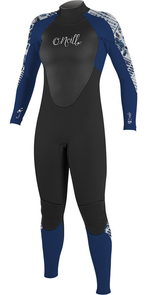 2018 O'Neill Womens Epic 4/3mm Back Zip GBS Wetsuit Black / Navy 4214