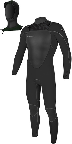 2018 O'Neill Mutant 5/4mm Hooded Chest Zip Wetsuit Jet Camo 4762