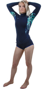 2019 O'Neill Womens Bahia 2/1mm Long Sleeve Short Leg Back Zip Shorty Wetsuit Abyss / Faro 4859