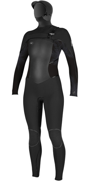 2018 O'Neill Womens Psycho Tech 6/4mm Hooded Chest Zip Wetsuit BLACK / Mist 4990