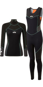 2021 Gill Womens Zentherm 3mm GBS Skiff Suit & 2.5mm Wetsuit Top Package Deal - Black