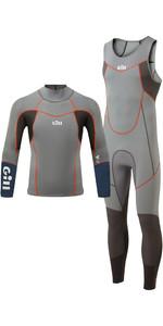 2021 Gill Mens Zenlite 2mm Skiff Suit & 1.5mm Wetsuit Top Package Deal - Steel Grey