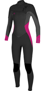 2018 O'Neill Ladies O'Riginal 5/4mm Chest Zip Wetsuit BLACK / Berry 4997