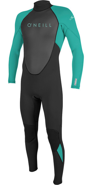 2019 O'Neill Youth Reactor II 3/2mm Back Zip Wetsuit Black / Aqua 5044