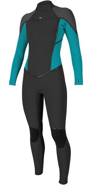2018 O'Neill Womens Psycho One 5/4mm Back Zip Wetsuit BLACK / Breeze 5121