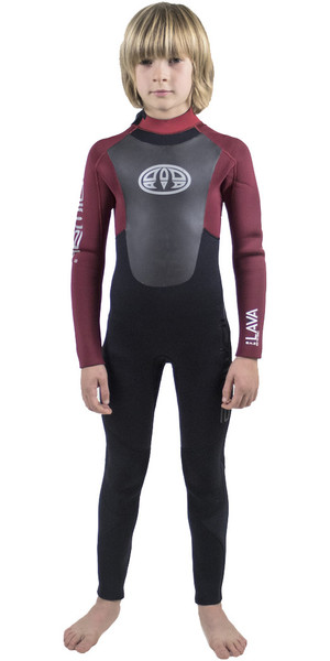 2018 Animal Junior Boys Lava 5/4/3mm GBS Back Zip Wetsuit Biking Red AW8WN600