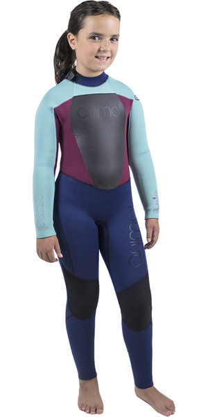 2018 Animal Junior Girls Lava 5/4/3mm GBS Back Zip Wetsuit Dark Navy AW8WN800