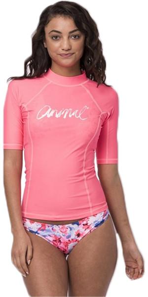 2018 Animal Womens Vickie Short Sleeve UV50 Rash Vest Neon Orange CL8SN343