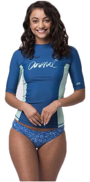 2018 Animal Womens Vickie Short Sleeve UV50 Rash Vest Snorkel Blue CL8SN343