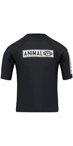 2018 Animal Junior Boys Fisk Short Sleeve Rash Vest Black CL8SN611