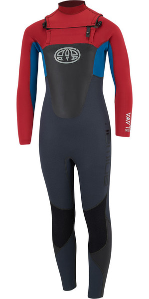 2018 Animal Junior Boys Lava 4/3mm GBS Chest Zip Wetsuit Rich Red AW8SN603