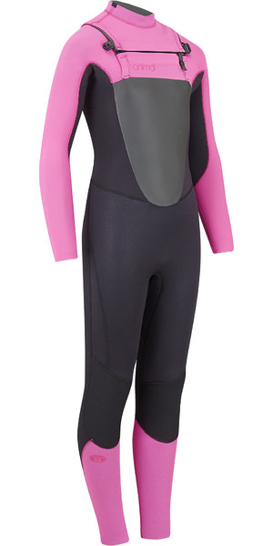 2019 Animal Junior Girls Lava 4/3mm GBS Chest Zip Wetsuit Black AW9SQ800