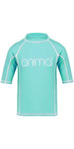 Animal Junior Girls Molli Short Sleeve Rash Vest Peppermint Blue CL8SN815