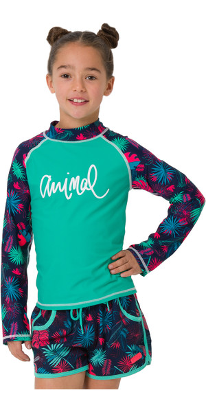 2019 Animal Junior Girls Paradise Palm Long Sleeve Rash Vest Turquoise CL9SQ811