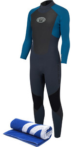 Animal Mens Lava 3/2mm GBS Back Zip Wetsuit Marina Blue AW8SN101 & Free Beach Towel